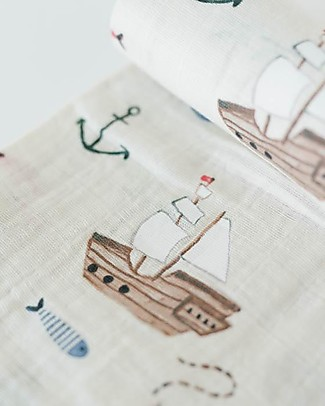 Little Unicorn Maxi Coperta Swaddle Milleusi 120 x 120 cm, Treasure Map - 100% Mussola di Cotone Copertine Swaddles