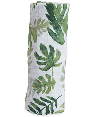 Little Unicorn Maxi Coperta Swaddle Milleusi 120 x 120 cm, Tropical Leaf - 100% Mussola di Cotone Copertine Swaddles