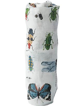 Little Unicorn Maxi Coperta Swaddle Milleusi Deluxe 120 x 120 cm, Insetti - 100% mussola di bambù Copertine Swaddles