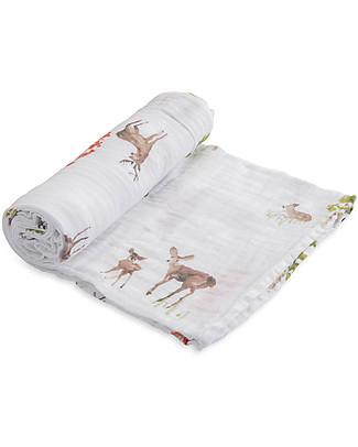 Little Unicorn Maxi Copertina Swaddle Milleusi - Cerbiatti - 100% Mussola di Cotone Copertine Swaddles