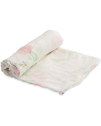 Little Unicorn Maxi Copertina Swaddle Milleusi Deluxe - Pink Peony - 100% Mussola di Bambu Copertine Swaddles