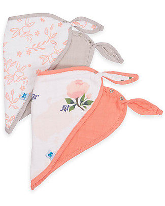 Little Unicorn Set 2 Bavaglini Bandana, Watercolor Rose - 3 strati di 100% Mussola di Cotone Bavagli a Bandana