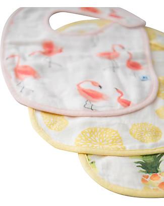 Little Unicorn Set 3 Bavaglini Deluxe, Pink Ladies - 3 Strati di 100% Mussola di Bambù Bavagli Classici