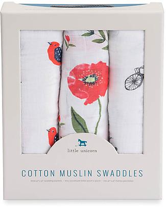 Little Unicorn Set 3 Regalo Maxi Copertina Swaddle Milleusi - Poppy - 100% Mussola di Cotone Copertine Swaddles