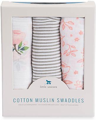 Little Unicorn Set 3 Regalo Maxi Copertina Swaddle Milleusi - Rose - 100% Mussola di Cotone Copertine Swaddles