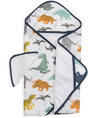 Little Unicorn Set Asciugamano con Cappuccio e Manopola, Dino Friends - Spugna di mussola di cotone Accappatoi e Asciugamani