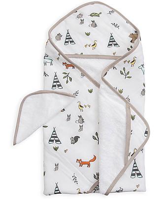 Little Unicorn Set Asciugamano con Cappuccio e Manopola - Forest Friends - Spugna di mussola di Cotone Accappatoi e Asciugamani