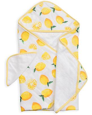 Little Unicorn Set Asciugamano con Cappuccio e Manopola - Lemon - Spugna di mussola di Cotone Accappatoi e Asciugamani