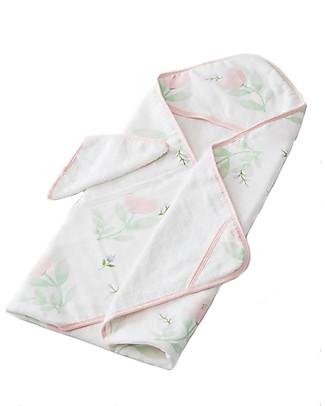 Little Unicorn Set Asciugamano con Cappuccio e Manopola, Pink Peony - Spugna di mussola di cotone Accappatoi e Asciugamani