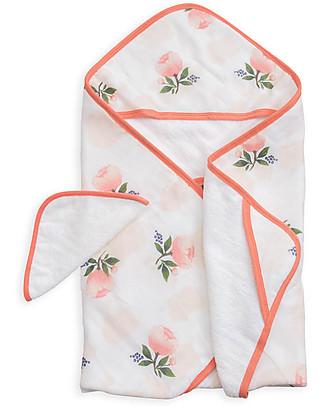 Little Unicorn Set Asciugamano con Cappuccio e Manopola - Watercolor Rose - Spugna di Mussola di  Cotone null