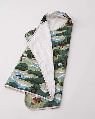 Little Unicorn Set Asciugamano Grande con Cappuccio e Manopola,  Jurassic World - Spugna di mussola di cotone Accappatoi e Asciugamani