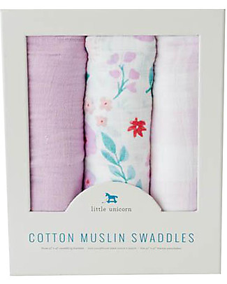 Little Unicorn Set di 3 Maxi Coperta Swaddle Milleusi 120 x 120 cm, Morning Glory - 100% Mussola di Cotone Copertine Swaddles