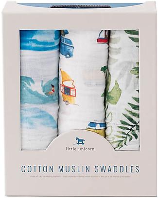 Little Unicorn Set di 3 Maxi Coperta Swaddle Milleusi 120 x 120 cm, Vibrazioni Estive - 100% Mussola di Cotone Copertine Swaddles