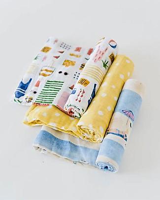 Little Unicorn Set of 3 Swaddle Blanket 120 x 120 cm, Beach - 100% Cotton Muslin Swaddles