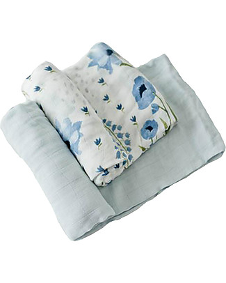 Little Unicorn Set regalo di 2 Maxi Copertine Swaddle Deluxe Milleusi 120 x 120 cm, Blue Windflower - 100% mussola di bambù Copertine Swaddles