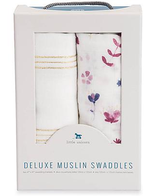 Little Unicorn Set regalo di 2 Maxi Copertine Swaddle Deluxe Milleusi 120 x 120 cm, Fairy Garden - 100% mussola di rayon di bambù Copertine Swaddles