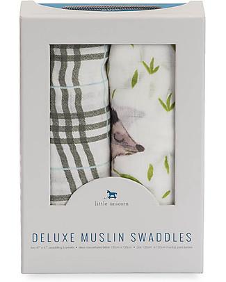 Little Unicorn Set regalo di 2 Maxi Copertine Swaddle Deluxe Milleusi 120 x 120 cm, Riccio - 100% Mussola di Bambù Copertine Swaddles