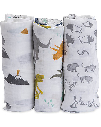 Little Unicorn Set regalo di 3 Maxi Copertine Swaddle Milleusi 120 x 120 cm, Dino Friends - 100% Mussola di Cotone Copertine Swaddles