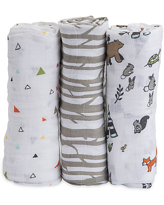 Little Unicorn Set regalo di 3 Maxi Copertine Swaddle Milleusi 120 x 120 cm, Forest Friends - 100% Mussola di Cotone Copertine Swaddles