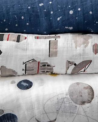 Little Unicorn Set regalo di 3 Maxi Copertine Swaddle Milleusi 120 x 120 cm, Planetary - 100% Mussola di Cotone Copertine Swaddles