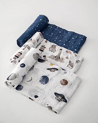 Little Unicorn Set Regalo di 3 Maxi Copertine Swaddle Milleusi 120 x 120 cm, Spazio Planetary - 100% Mussola di Cotone Copertine Swaddles