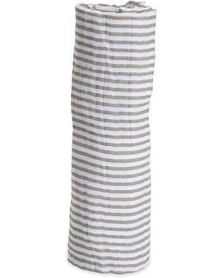 Little Unicorn Swaddle Blanket 120 x 120 cm, Grey Stripe - 100% Cotton Muslin Swaddles