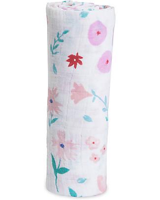 Little Unicorn Swaddle Blanket 120 x 120 cm, Morning Glory - 100% Cotton Muslin Swaddles