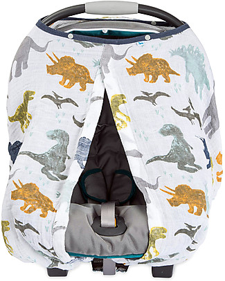 Little Unicorn Tendina Ovetto Canopy - Dino Friends - 100% Mussola di Cotone Accessori