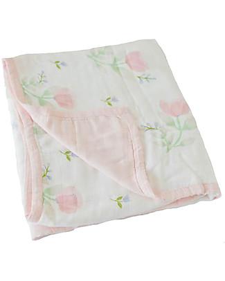 Little Unicorn Trapunta Baby 120 x 120 cm, Deluxe - Pink Peony -  4 strati di mussola di Bambù 100% Coperte