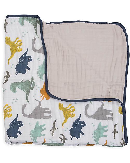 Little Unicorn Trapunta Baby 120 x 120 cm, Dino Friends - 4 strati di mussola di cotone 100% Coperte
