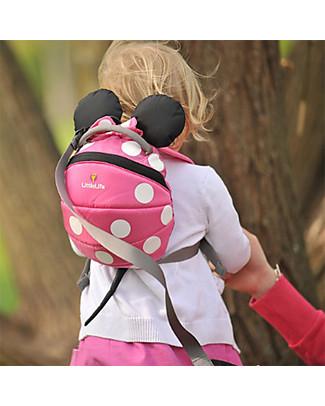 LittleLife Zainetto Bimba 1-3 anni, Minnie Rosa - Redinella di Sicurezza Inclusa Zainetti
