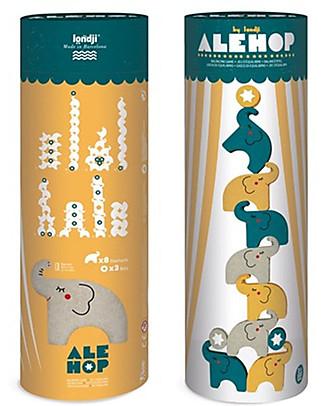 Londji Ale-Hop! - 8  Elefantini Acrobatici - Legno Riciclato! Giochi Di Una Volta