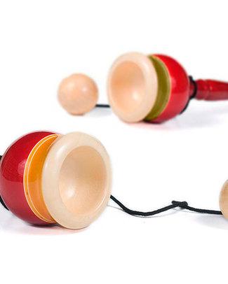 Londji Bilboquet o Kendama - Il gioco della palla e la tazzina (promuove coordinazione e destrezza) - Rosso e Giallo Giochi Di Una Volta