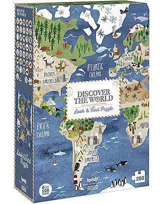 Londji Discover the World Puzzle - 200  pezzi - Cartone Riciclato! Puzzle