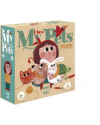 Londji I Love my Pets Puzzle - 21 pezzi per 7 puzzle reversibili - Cartone Riciclato! Puzzle