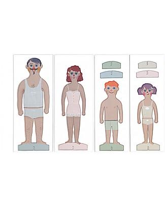 Londji La Famiglia di Cartone - 4 personaggi da vestire con 20 abiti! (cartone riciclato) Carta e Cartone