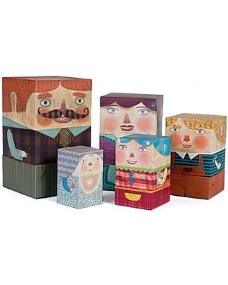 Londji Matrioska della Famiglia - Set di 5 Personaggi in Cartone! Carta e Cartone