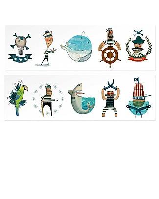Londji Tatuaggi Temporanei Pirati - 10 Grandi Tatuaggi a Colori Tattuagi