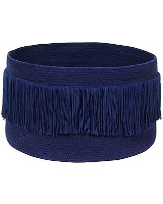 Lorena Canals Cesto Portaoggetti con Frange, Blu Alaska - 100% cotone (45 x 25 cm) Contenitori Porta Giochi