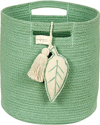 Lorena Canals Cesto Portaoggetti Leaf in Corda di Cotone, Verde – Lavabile e fatto a mano null