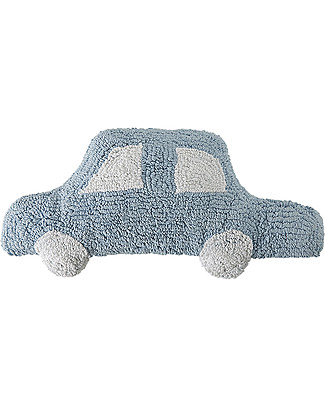 Lorena Canals Cuscino Automobilina Azzurra – 100% Cotone (Lavabile in Lavatrice!) Cuscini Arredo