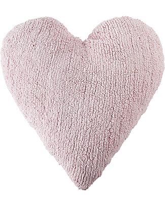 Lorena Canals Cuscino Cuore Rosa - 100% Cotone (Lavabile a in Lavatrice!) Cuscini Arredo