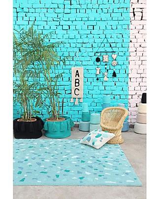 Lorena Canals Cuscino Quadrato Terrazzo, Verde Smeraldo - 100% cotone (40X40 cm) Cuscini Arredo