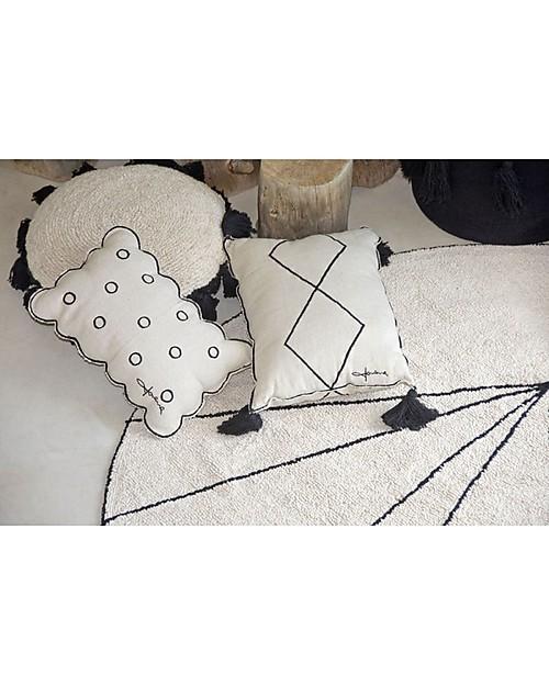 Lorena Canals Cuscino Rettangolare con Pompon Bereber -  100% cotone (55x40 cm) Cuscini Arredo