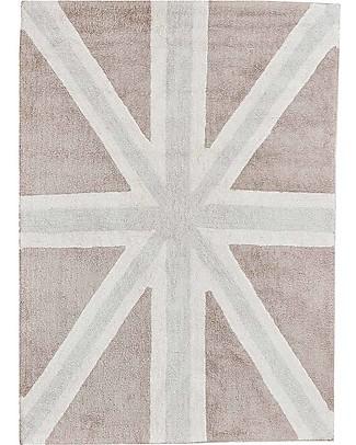 Lorena Canals Grande Tappeto Lavabile Union Jack, Grigio - 100% Cotone (140 x 200 cm)  Tappeti