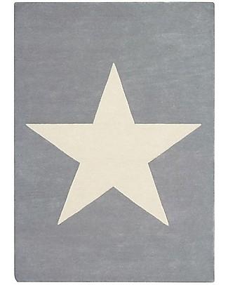 Lorena Canals OUTLET - Tappeto in Lana Big Star, Grigio Chiaro - Base in 100% cotone (140 x 200 cm) Tappeti