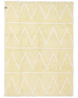 Lorena Canals OUTLET Tappeto Lavabile Hippy - Zig Zag Giallo - 100% Cotone (120cm x 160cm) - Pezzo di Showroom Tappeti