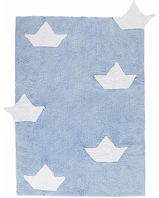 Lorena Canals Tappeto con Barchette, Azzurro - 100% Cotone (120 x 160 cm)  Tappeti