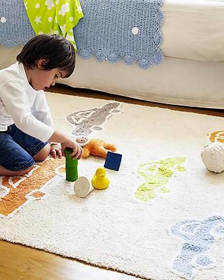 Lorena Canals Tappeto con Macchinine Multicolori - Vaniglia, 100% Cotone (120 x 160 cm)  Tappeti