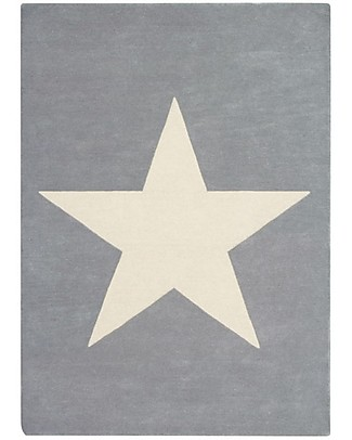Lorena Canals Tappeto in Lana Big Star, Grigio Chiaro - Base in 100% cotone (140 x 200 cm) Tappeti